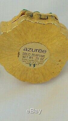 Tres Rare Estee Lauder Azuree Green Lion 1970 Parfum Compact Solide