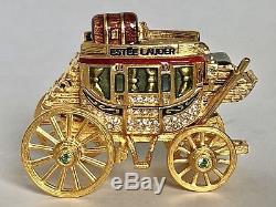 Unique Htf Estee Lauder Doré Stagecoach Solide Parfum Plaisirs Compact