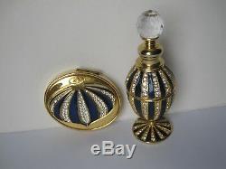 Vintage Bouteille De Parfum Scintillant, Poudre Bleue Cristalline Compacte Estee Lauder