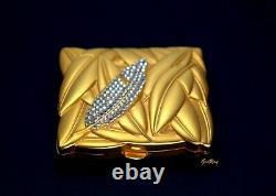 Vintage Estee Lauder Lucidity Poudre Compact Swarovski Crystal Matte Gold Lotus