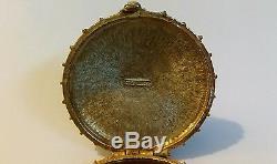 Vintage Estee Lauder Parfum Compact Collier D'or Ton Cabochon Pierre Bleue