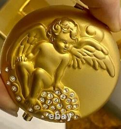 Vintage Menthe-guardian Angle- Sculpture D'or- Cristal Encrusted Maquillage Compact