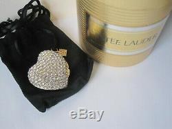 Vtg. Collier Pendentif Coeur Étincelant Full Estee Lauder Compact Parfum Solide