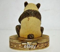 Vtg Estee Lauder Cinabre Parfum Solide Série Ivoire Compacte Imperial Panda